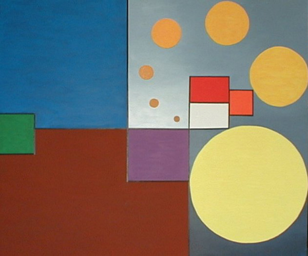 The color of the sun and of the country ina simple geometric painting but the geometry create a muvment and a simple linear in broke from one of the more difficolt thinks of the painting, the tridimensional shade