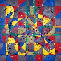 A force form with pure colors.The use of geometric and action painting live toghether and play with the forces that starts and arrive from the painting